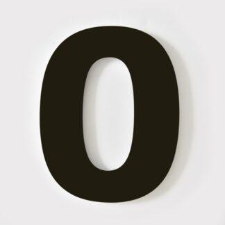 huisnummer zwart 0 verdana 15cm staal