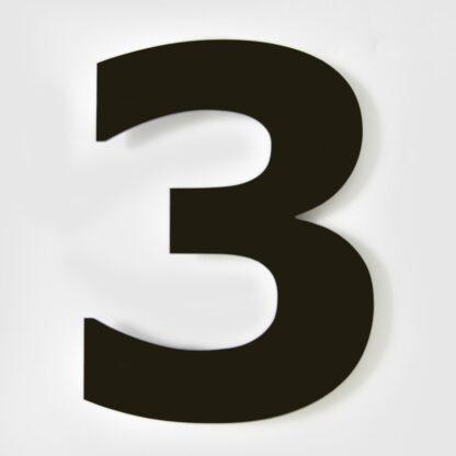 huisnummer zwart 3 verdana 15cm staal