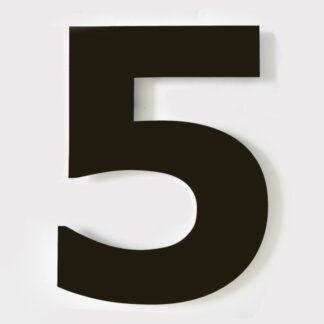 huisnummer zwart 5 verdana 15cm staal