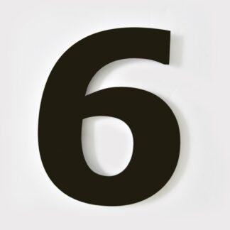 huisnummer zwart 6 verdana 15cm staal