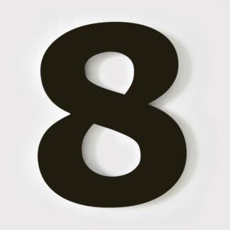 huisnummer zwart 8 verdana 15cm staal