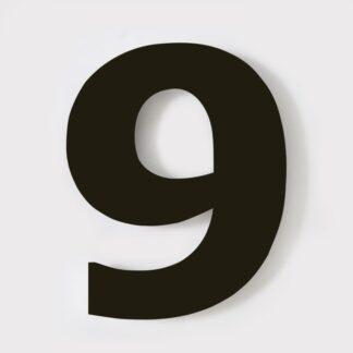 huisnummer zwart 9 verdana 15cm staal