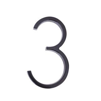 huisnummer 3 zwart zink 125mm