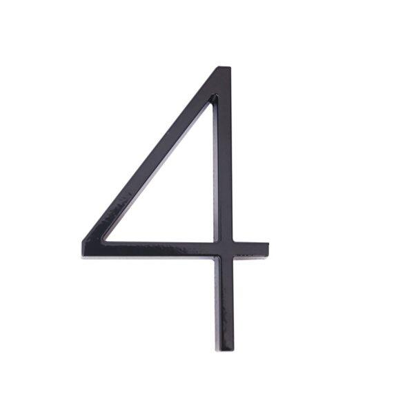 huisnummer 4 zwart zink 125mm modern
