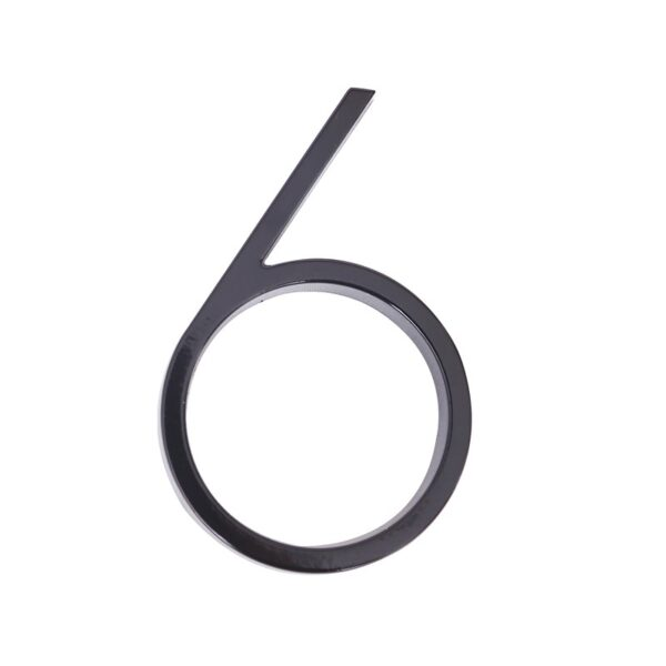 huisnummer 6 zwart zink 125mm modern