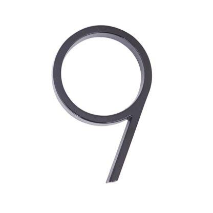 huisnummer 9 zwart zink 125mm modern
