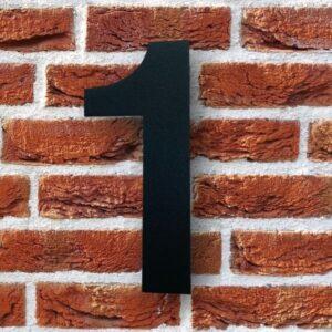 Huisnummer 1 Zwart 15 cm RVS Poedercoat