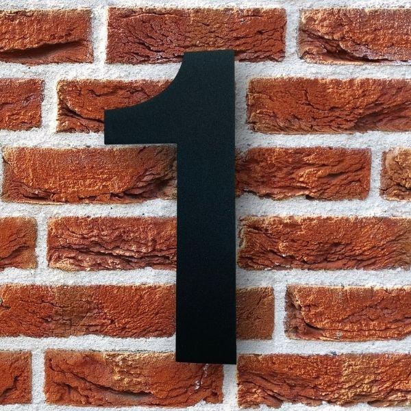 huisnummer 1 zwart poedercoat rvs