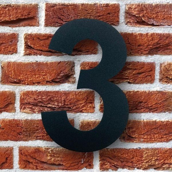 huisnummer 3 zwart poedercoat rvs