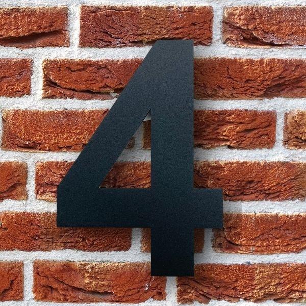 huisnummer 4 zwart poedercoat rvs