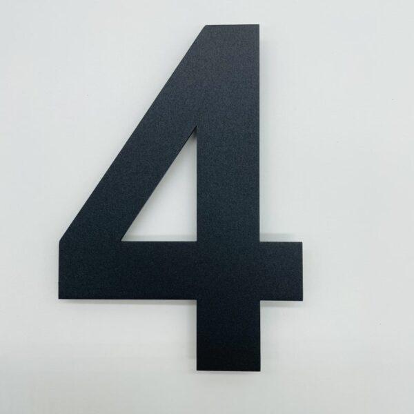 huisnummer 4zwart rvs poedercoat