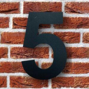 Huisnummer 5 Zwart 15 cm RVS Poedercoat