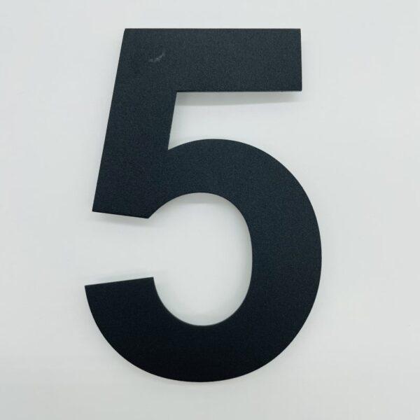 huisnummer 5 zwart rvs poedercoat