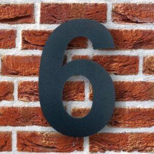 Huisnummer 6 Zwart 15 cm RVS Poedercoat