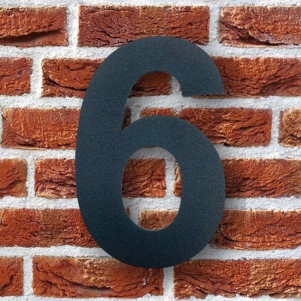huisnummer 6 zwart poedercoat rvs