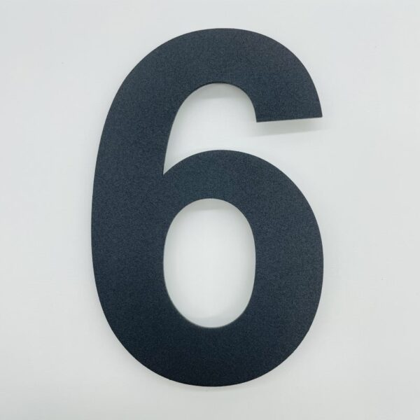 huisnummer 6 zwart rvs poedercoat