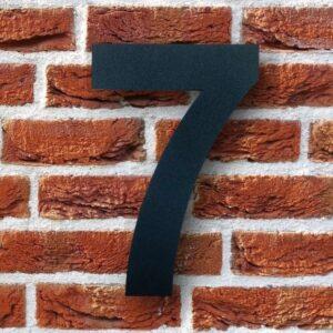 Huisnummer 7 Zwart 15 cm RVS Poedercoat