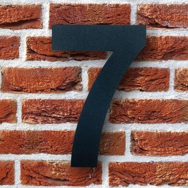 huisnummer 7 zwart poedercoat rvs