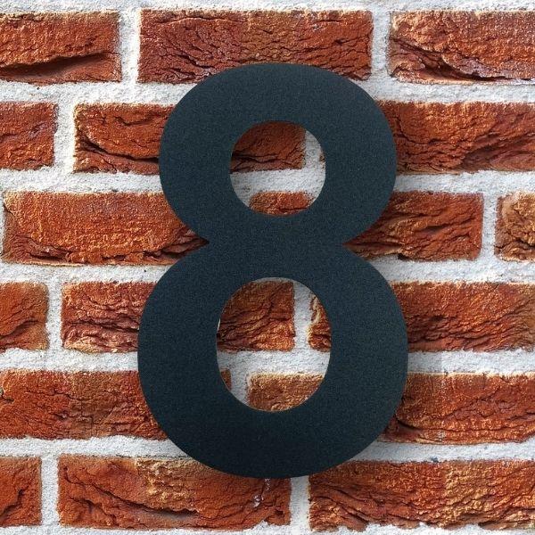 huisnummer 8 zwart poedercoat rvs