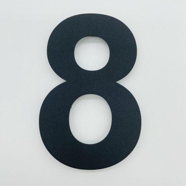 huisnummer 8 zwart rvs poedercoat