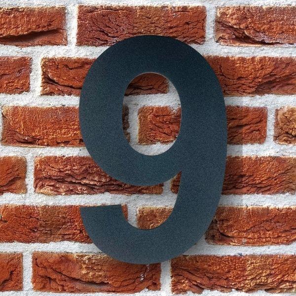 huisnummer 9 zwart poedercoat rvs