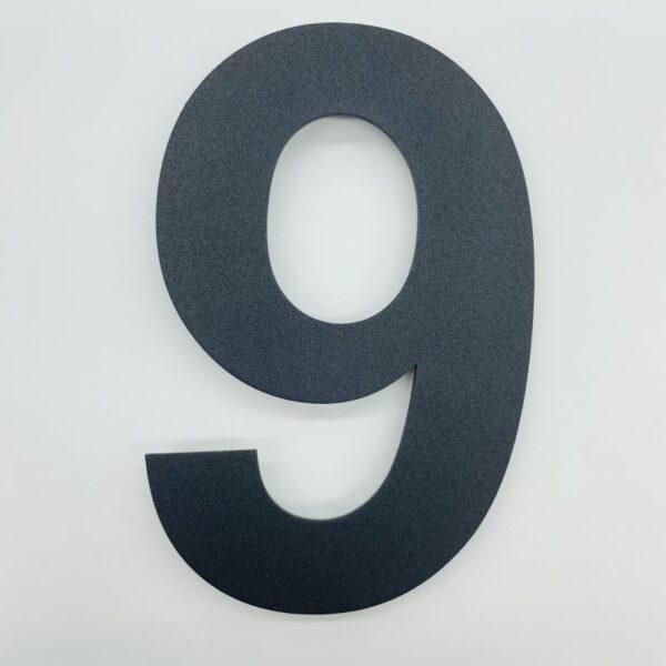 huisnummer 9 zwart rvs poedercoat